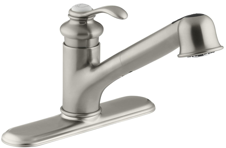 KOHLER K-12177-BN Fairfax Single Control Kitchen Sink Faucet ...