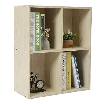 d32f91aef435 Homebi 4-Cube Bookshelf DIY 4-Shelf Bookcase Wood Storage Cabinet  Freestanding Organizer Display Storage Divider Shelving Unit for  Bedroom,Living ...