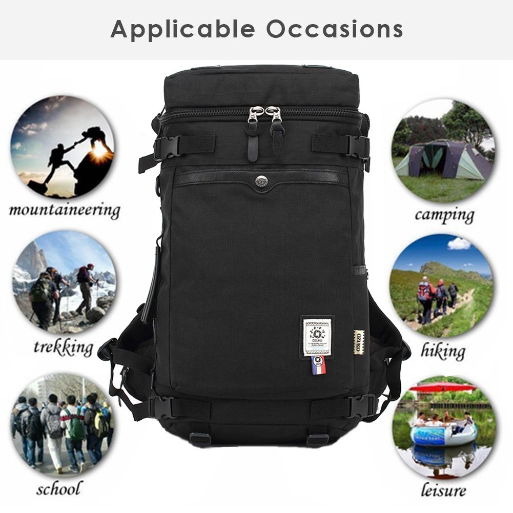 Fresion Multipurpose Backpack Water-resistant Messenger Bag Outdoor Weekend Bag Large Capacity Rucksack Travel tote Handbag for Daily Use/Hiking/Travel(Black)