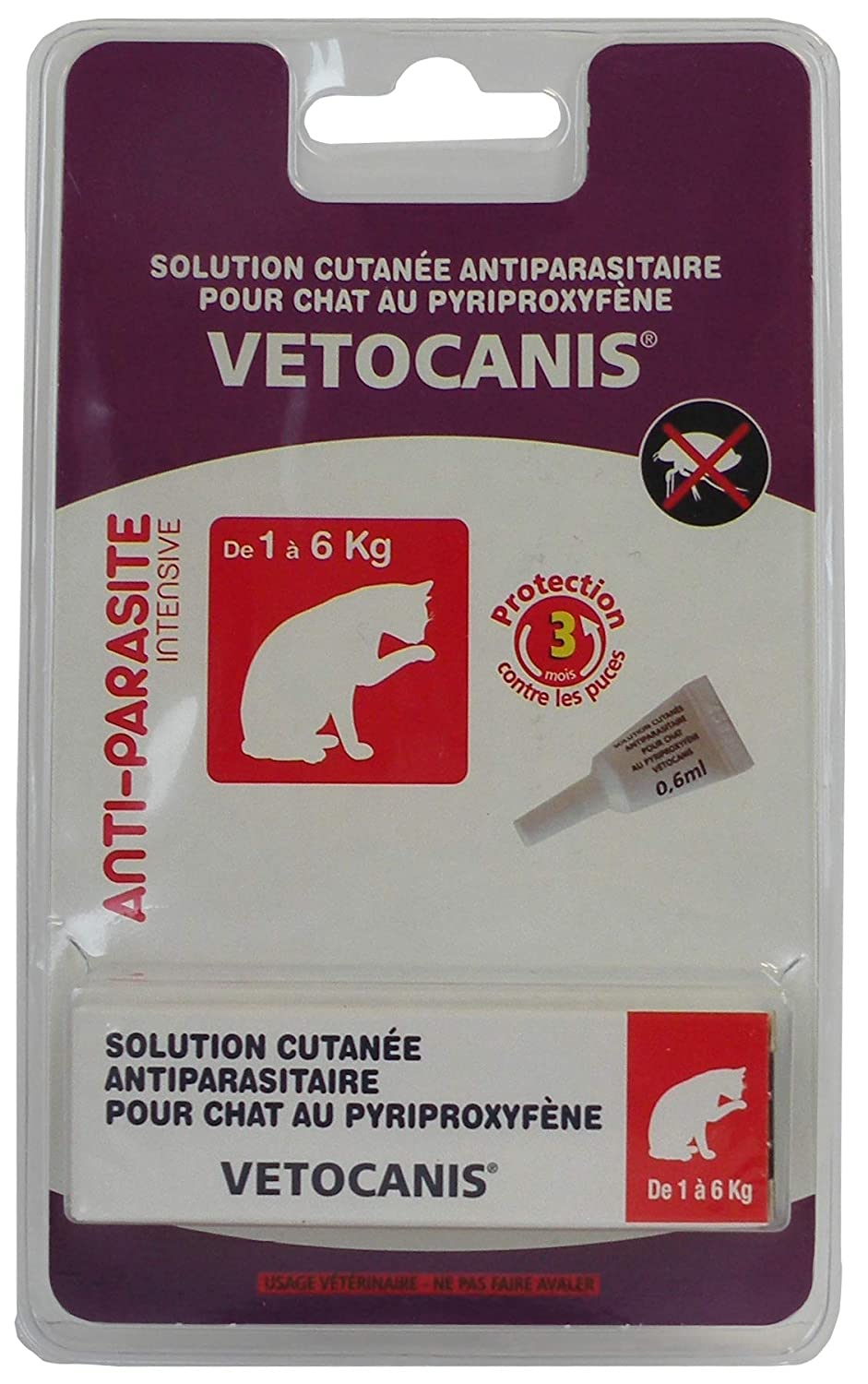 Vetocanis Pipette Antiparasitaire Chat - Lot de 2 Agrobiothers