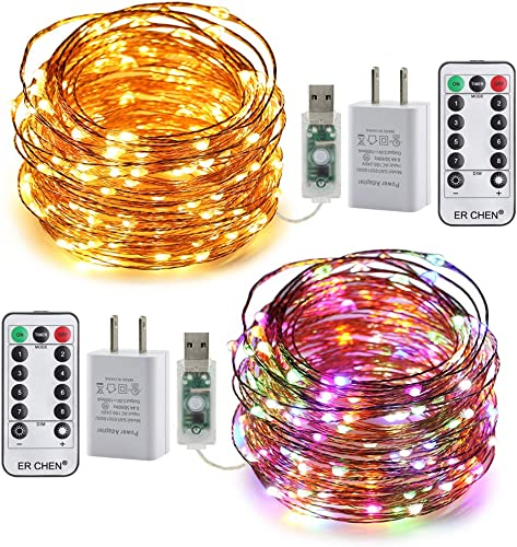 ER CHEN 2 Pack Fairy Lights Plug in, 33ft 100 LED USB String Lights 8 Modes Warm White Multi-Color Changing Dimmable Copper Wire Lights with Remote Timer, Twinkle Lights for Bedroom, Patio, Party