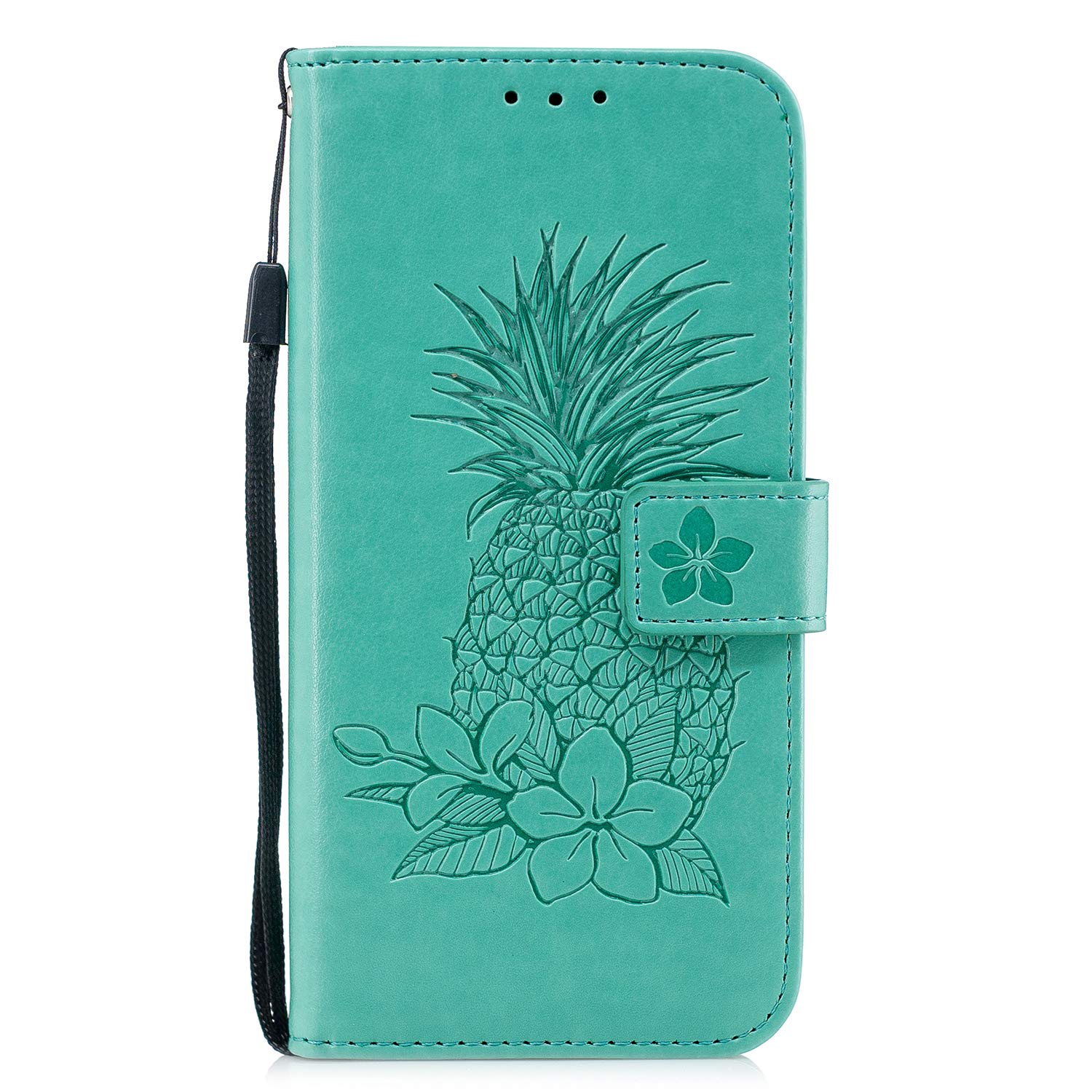 Samsung Galaxy S10 Plus Case, AIIYG DS Classic 3D Pineapple Pattern [Kickstand Feature] Flip Folio Leather Wallet Case with ID and Credit Card Pockets for Samsung Galaxy S10 Plus_Mint