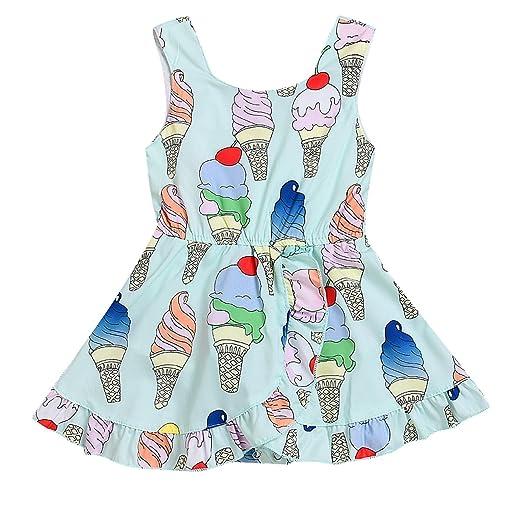 2dea0be6f419 Infant Toddler Girls Cute Ice Cream Pattern Summer Sleeveless Romper  Jumpsuit Dress (6-12