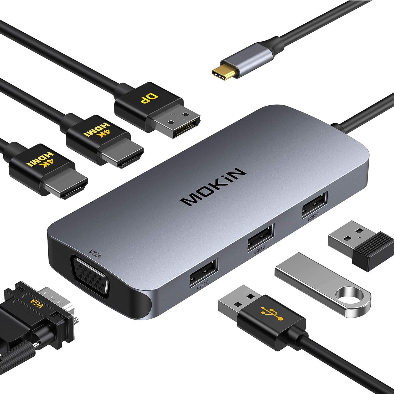 USB C Docking Station, USB C to Dual HDMI Hub, 7 in 1 Type C Docking Station Dual HDMI Adapter, USB C Adapter with Dual HDMI, VGA, 3 USB Port,DP Port Compatible for Dell XPS 13/15, Lenovo Yoga,etc