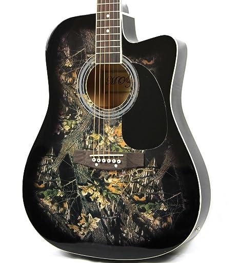 Moz tamaño completo fina cuerpo negro guitarra eléctrica acústica con 8 accesorios