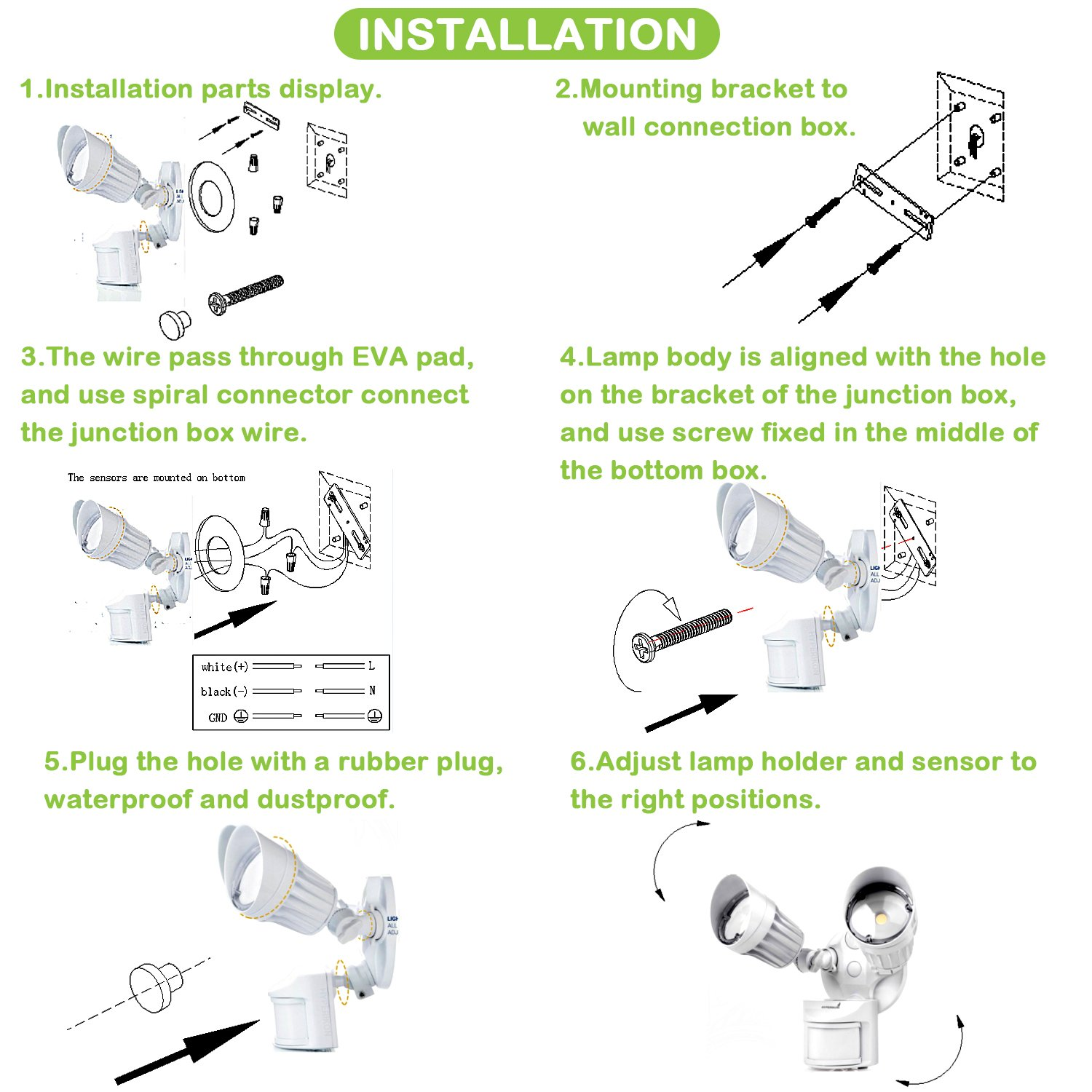 Hykolity 36w Pir Motion Detector Led Security Light Infrared Sensor Wiring Diagram Installing A With 3600lm Outdoor Wall Mount