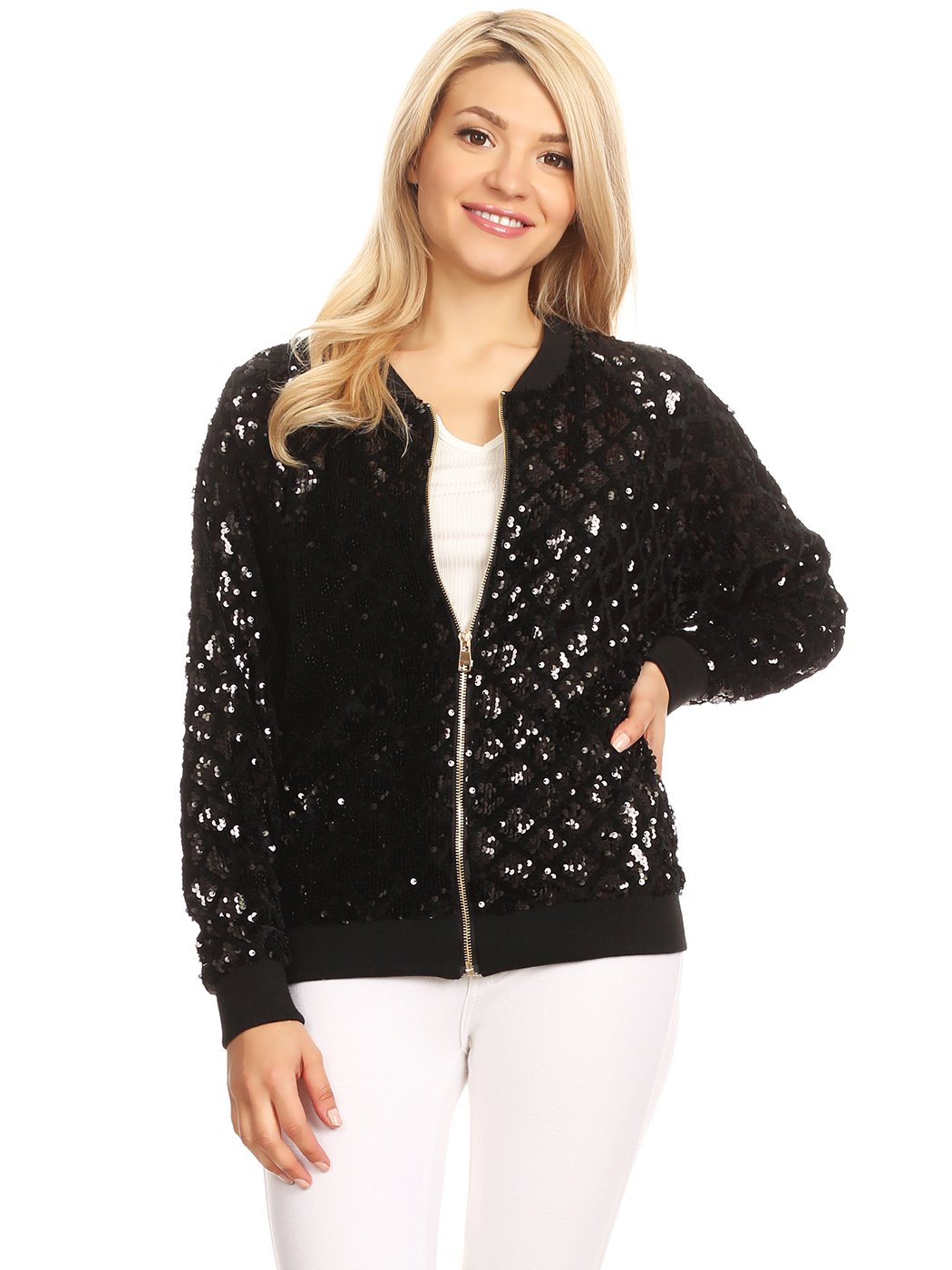 c924bd78662f Anna-Kaci Womens Long Sleeve Front Zip Track Stripe Sequin Bomber Jacket  product image