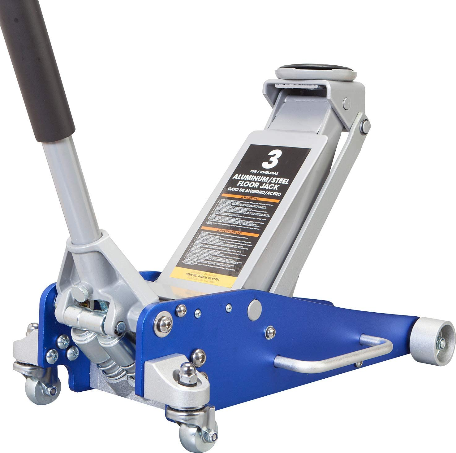 6,000 lb 3 Ton Blue Capacity TCE AT830011LU Torin Hydraulic Low Profile Aluminum and Steel Racing Floor Jack with Dual Piston Quick Lift Pump