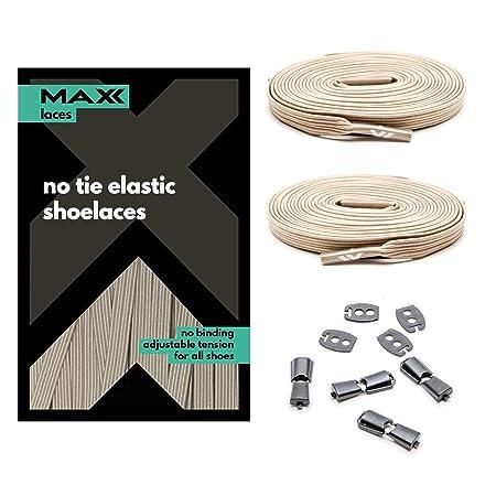 MAXXLACES Flache elastische Schnürsenkel mit einstellbarer Spannung in verschiedenen Farben Schuhbänder ohne Binden komfortab