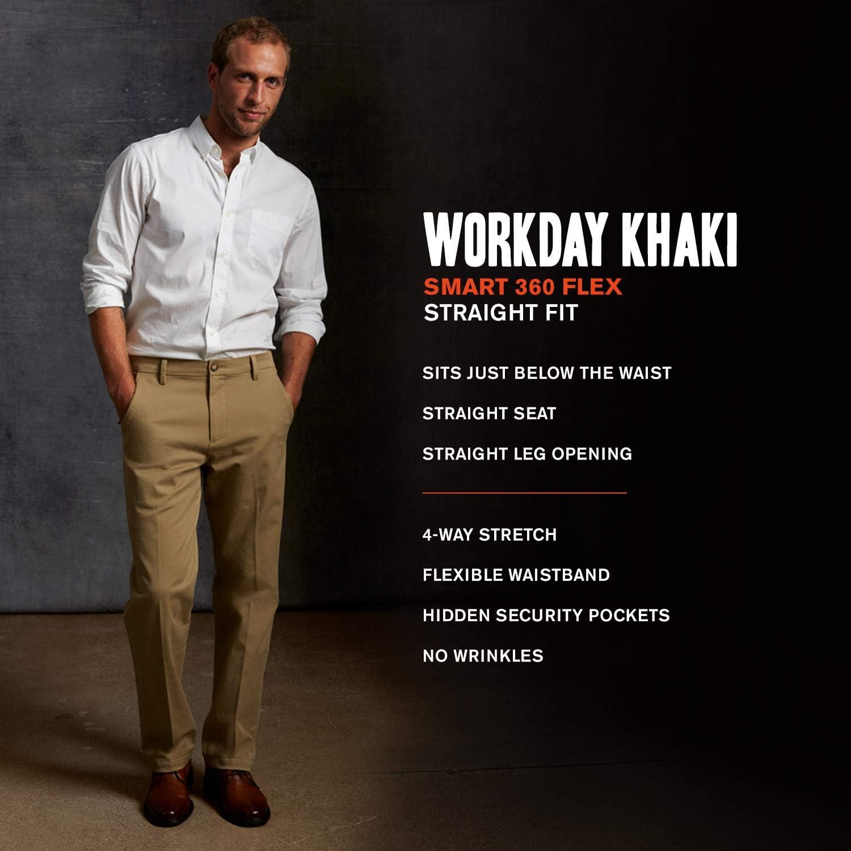 Dockers Smart 360 FLEX Straight-Fit Workday Khaki D2 Pick Size Brown
