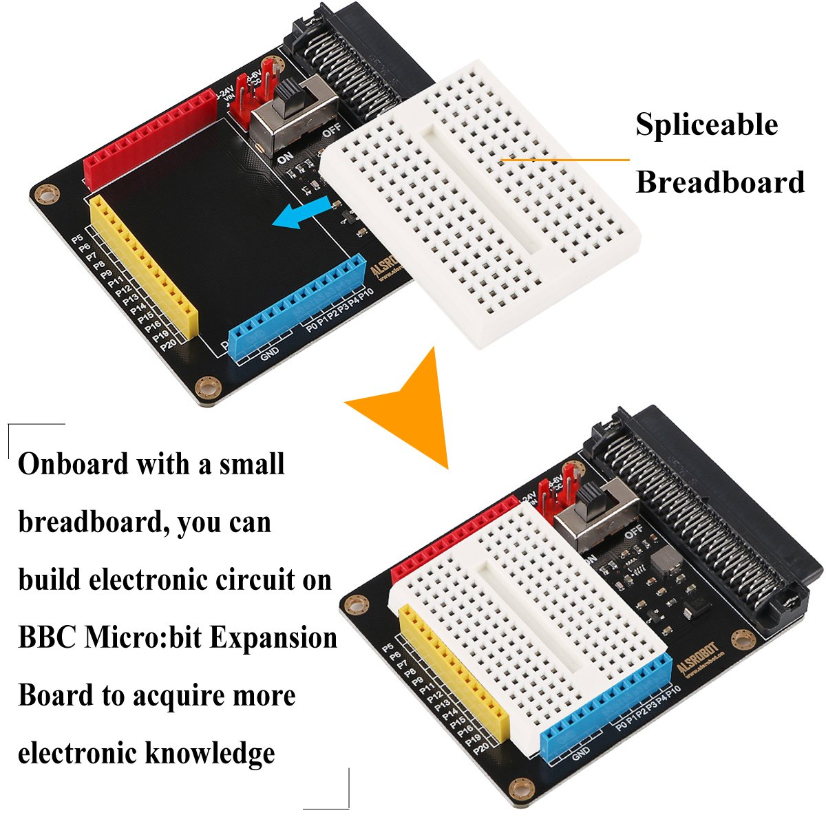 Makerhawk Bbc Microbit Expansion Board With Spliceable Breadboard Build Electronic Circuits Convenient To Lead All The Micro Bit Interface For Python Graphical Programming And Diy Iot Computers Accessories