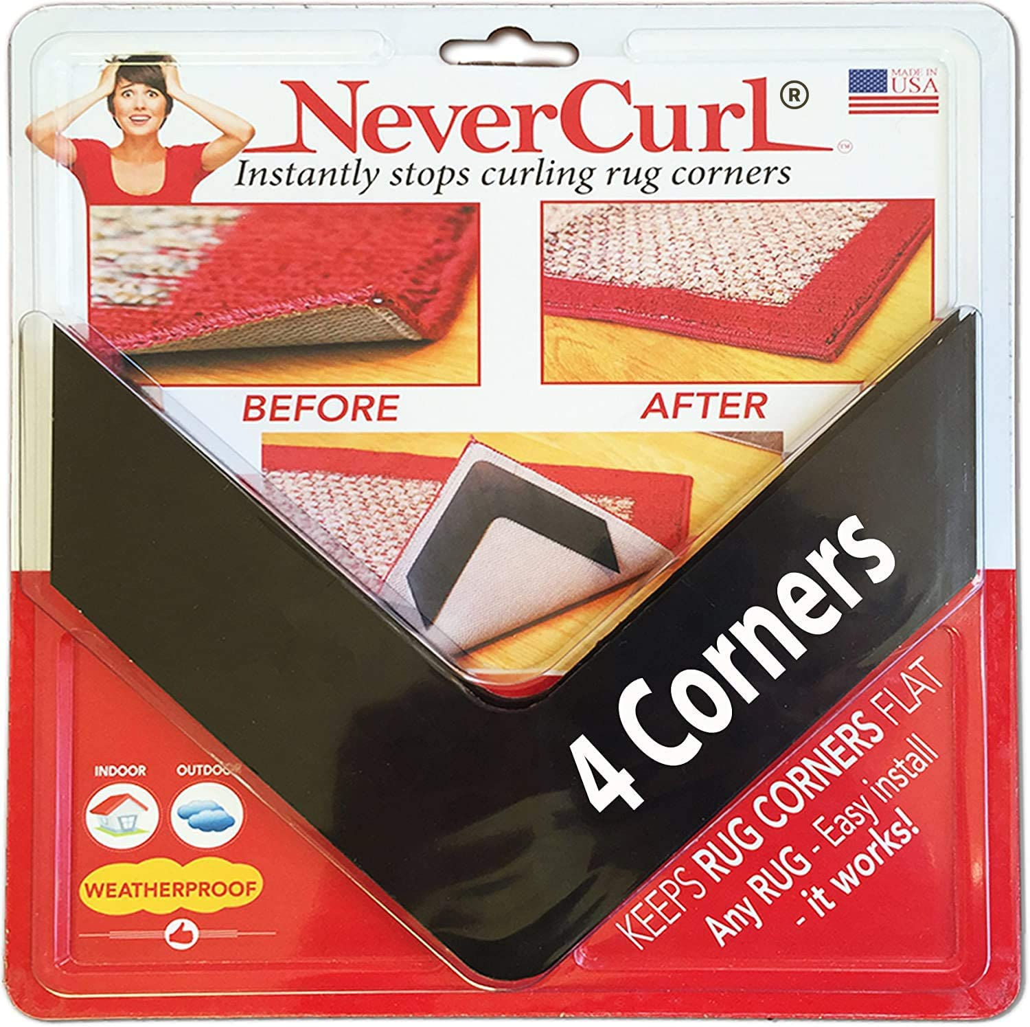 NeverCurl Best V Shape Design Gripper to Instantly Stops Rug Corner Curling. Safe for Wood Floors. for Indoor & Outdoor Rugs - Not an Anti-Slip pad - Made USA - Patented: Furniture & Decor