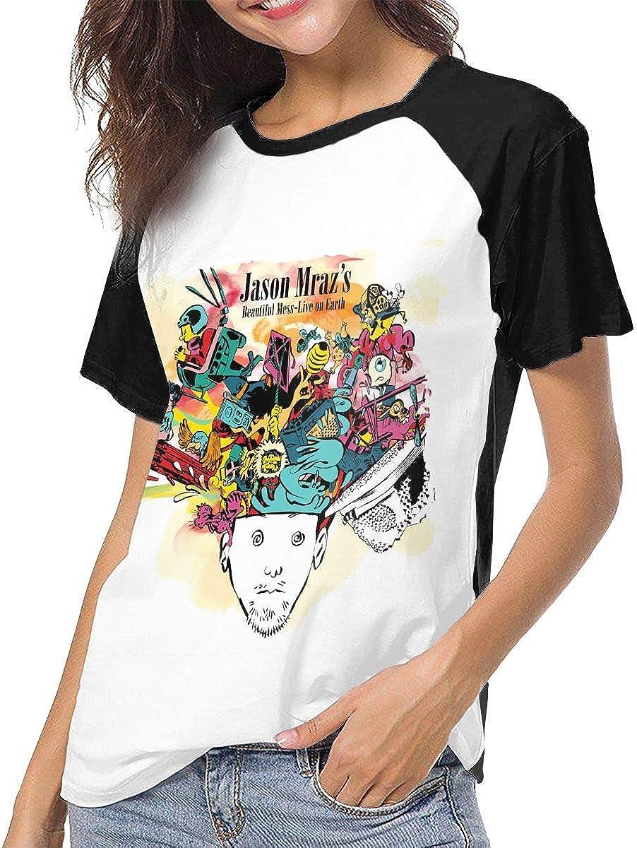 Wujianshan Jason Mraz Love is A Four Letter Word Comfort Women's Baseball Short Sleeves Tee Shirts Black 717K1ho3jJL