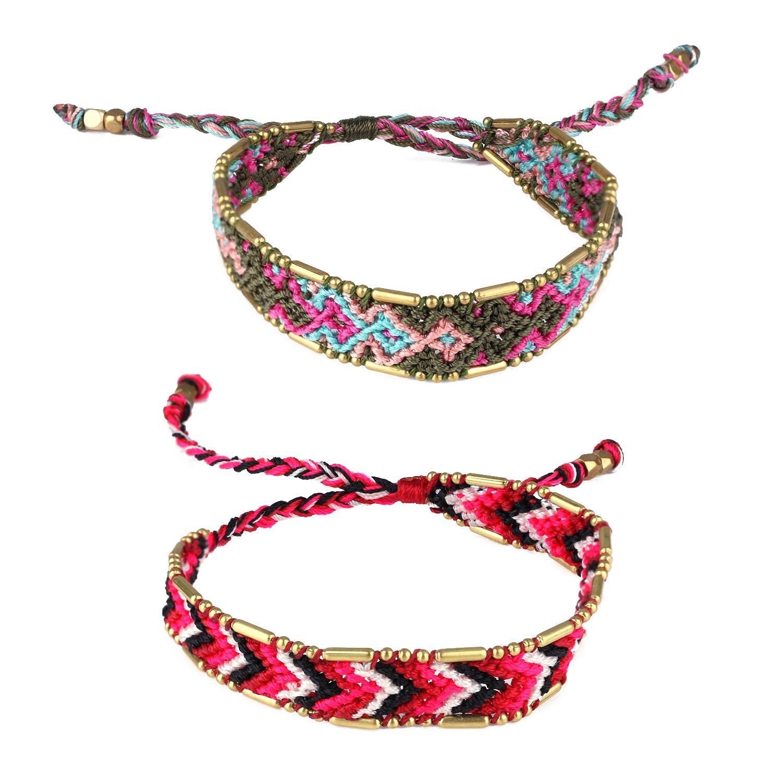 KELITCH Handmade Macrame Colour Candy Wide Bohemia Woven Friendship Bracelet Fashion New Jewelryn (Green Red 01B)
