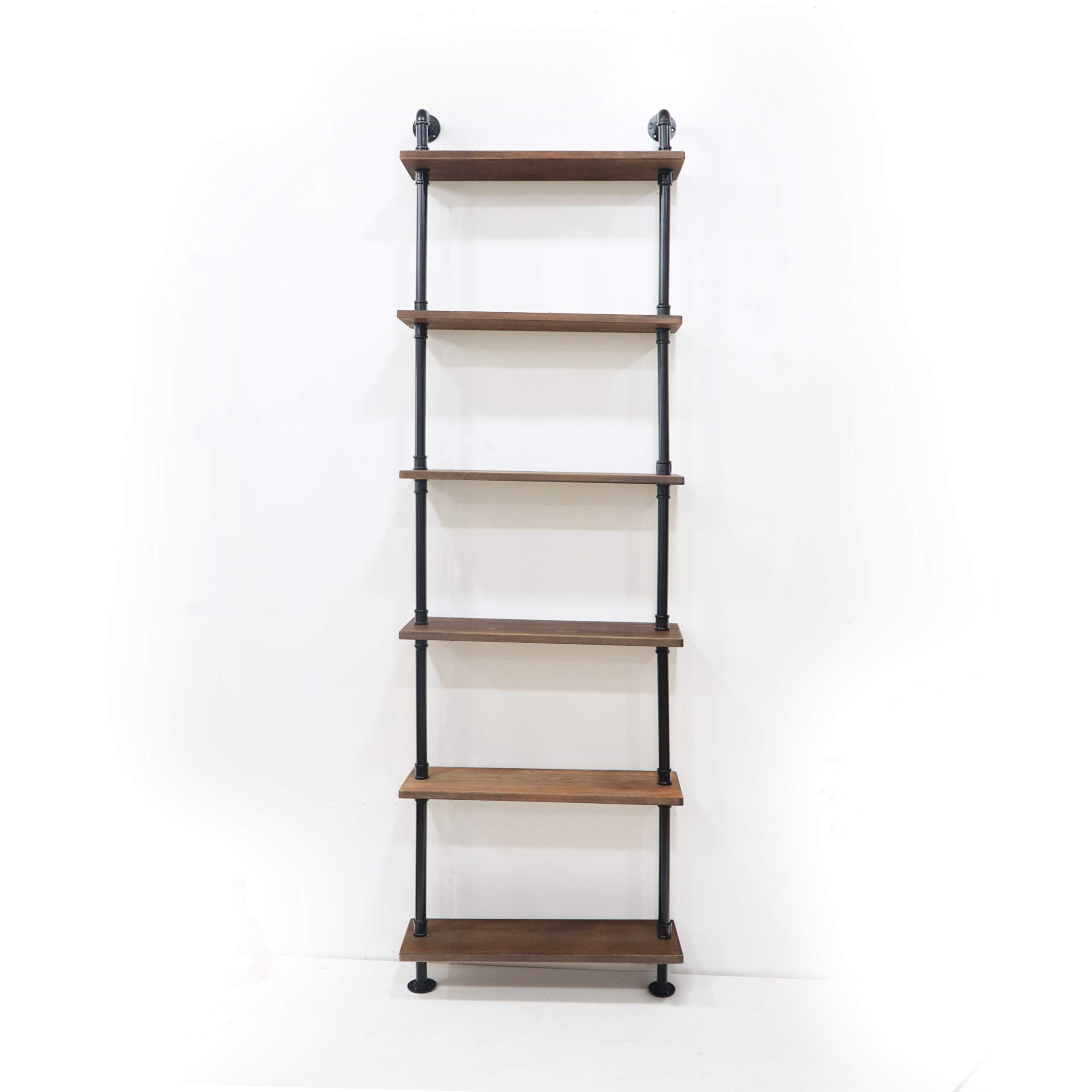 KINMADE Industrial Pipe Shelf Wall Shelf Rustic Wood with Black Iron Pipe 6 Tier