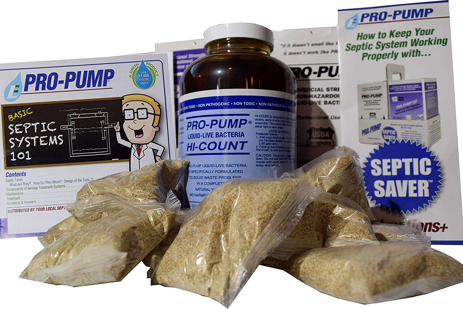 Pro Pump Septic Tank Treatment-1 Year Supply- Upgrade Your System with Flushable Living Bacteria 12 Biodegradable Enzyme Packets and 2 Toilet Leak Detection Tabs. Septic Treatment Made in USA!! by Pro Pump Septic Saver