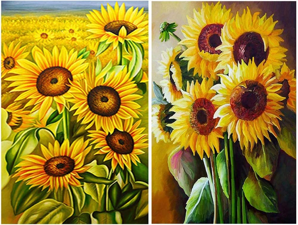 DIY 5D Diamond Painting Kits for Adults Kids Full Drill Sunflower Diamond Art Craft for Home Wall Decor 11.8 x 15.8 in