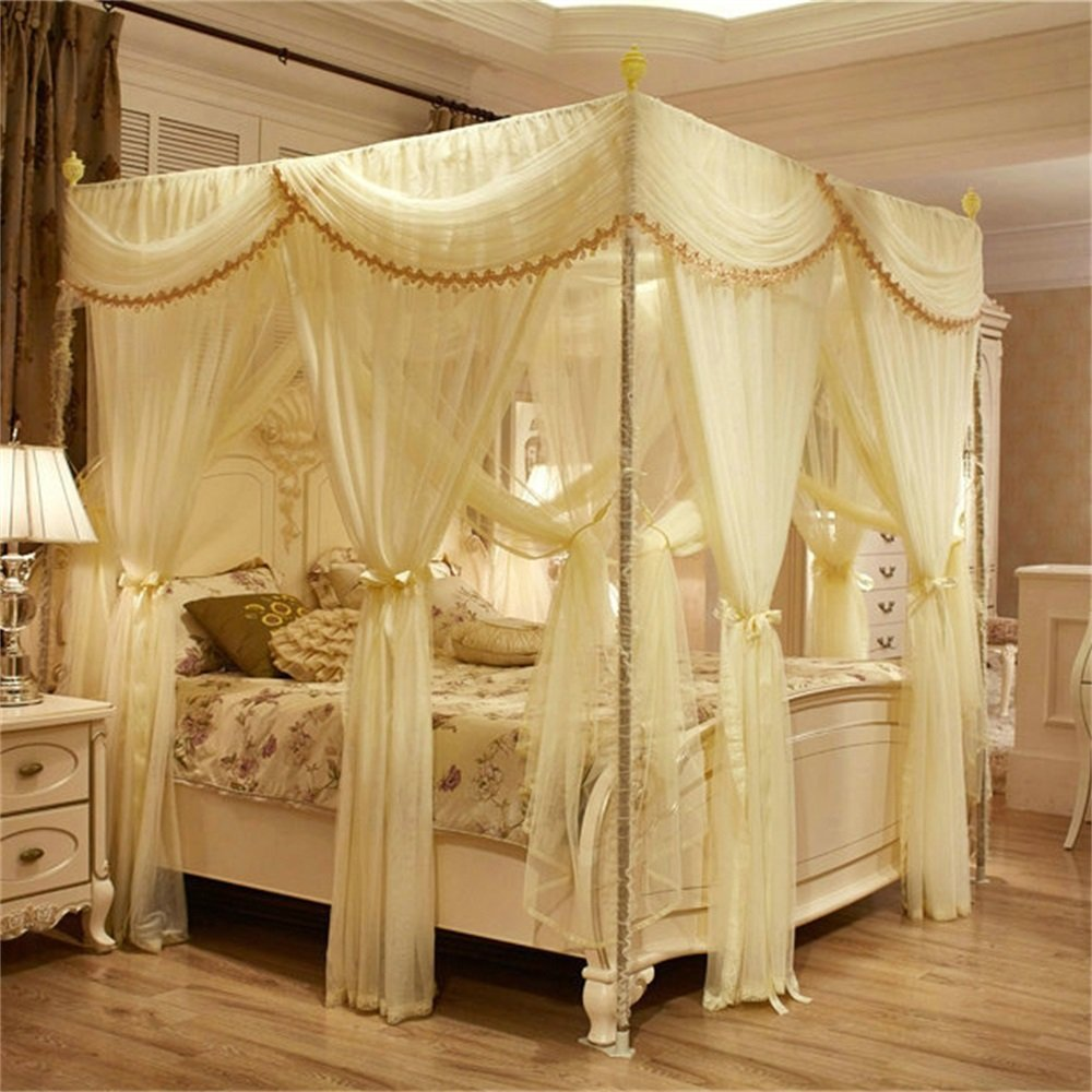Royal- European Style Square Top Double Layer Mosquito Net Three-door Encryption Thickening Double Bed Princess Style Stainless Steel Bracket ( Color : Beige , Size : 2.0m (6.6 Feet) Bed )