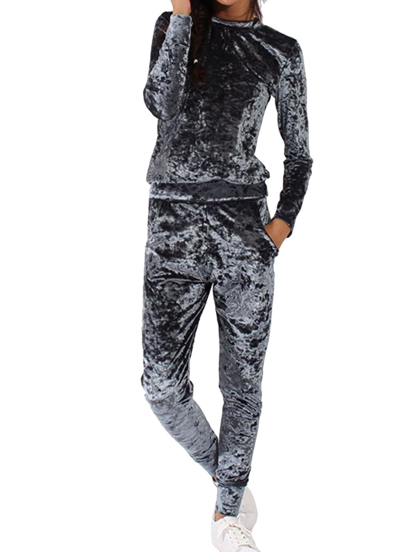Elevesee Women's Velour Velvet Jogger Lounge 2 Pieces Set Sportswear Tracksuit