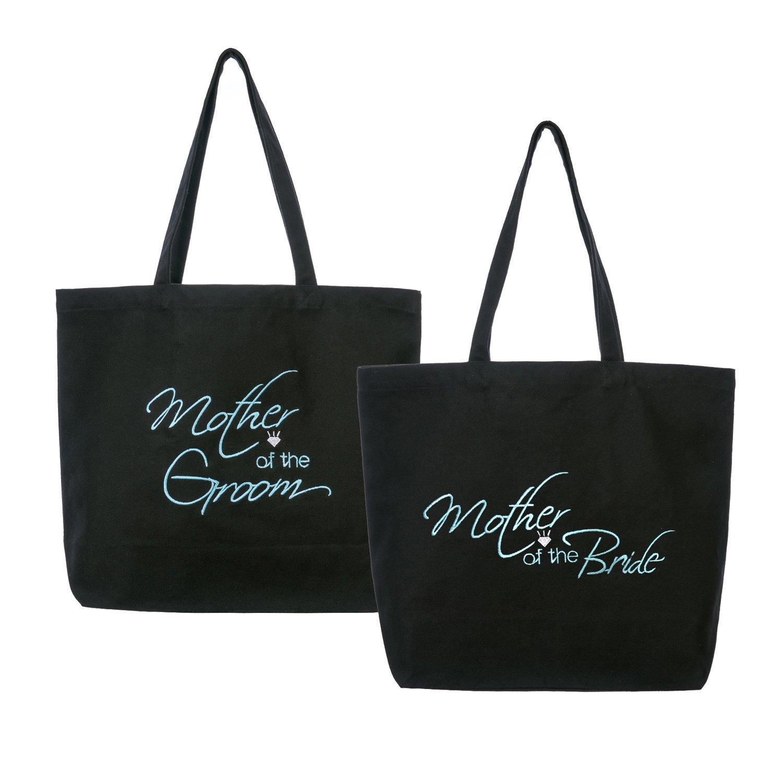 ElegantPark Mother of the (Bride+Groom) Heavy Tote Bag Wedding Bridal Shower Gift Canvas 100% Cotton Black with Aqua Embroidered 2 Pcs