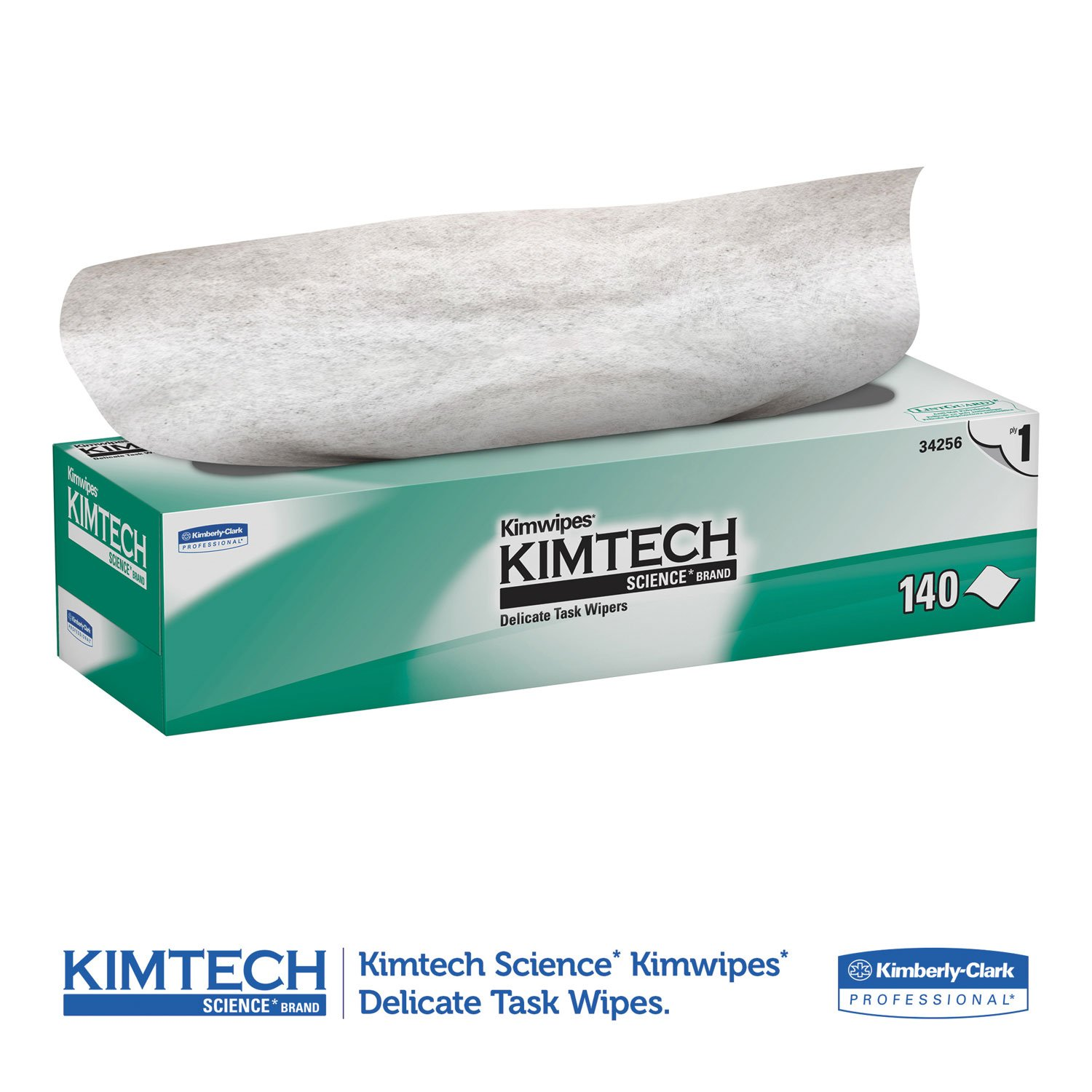 Kimtech 34256CT KIMWIPES Delicate Task Wipers, 1-Ply, 14 7/10 x 16 3/5, 140/Box, 15 Boxes/Carton