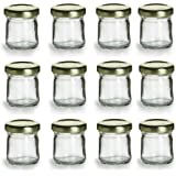 Nakpunar 12 pcs , 1.5 oz Mini Glass Jars for Jam, Honey, Wedding Favors, Shower Favors, Baby Foods, DIY Magnetic Spice Jars