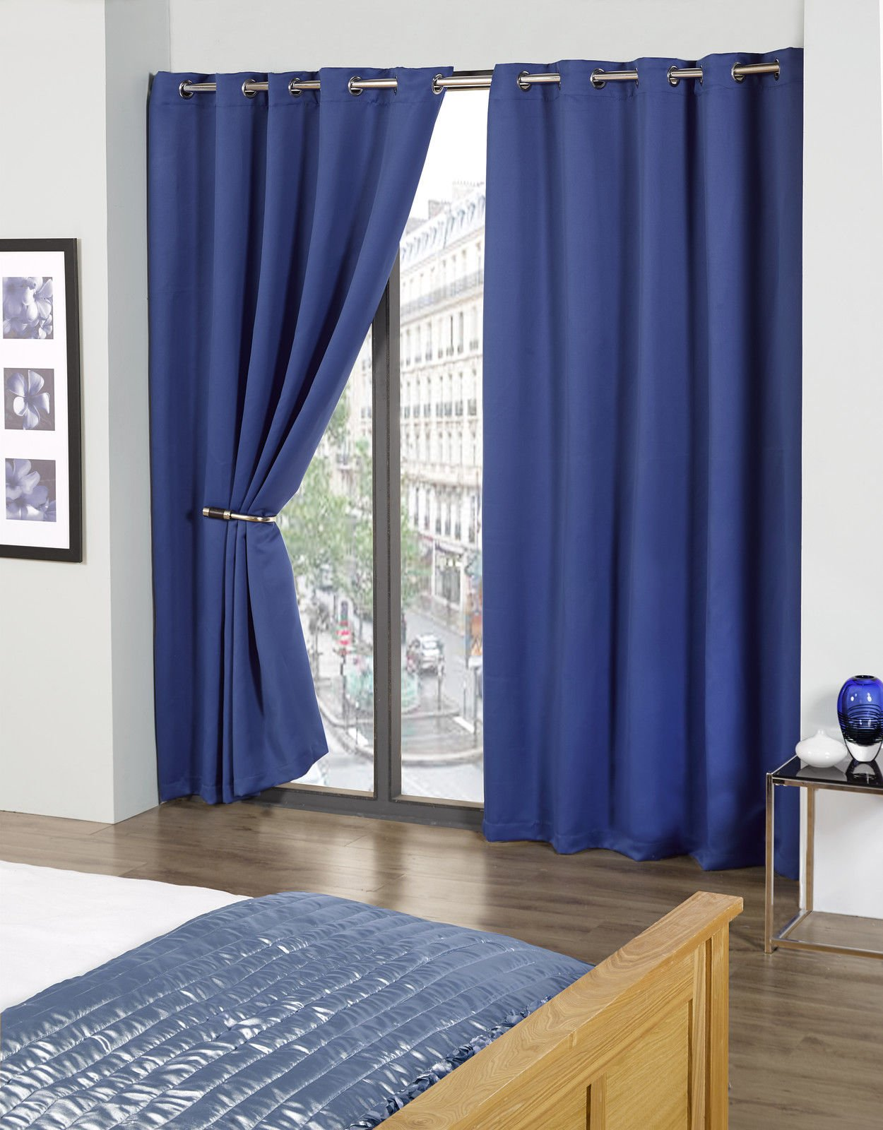 Cali Eyelet Ring Top Thermal Blackout Curtains Blue 90 Wide X 54 Drop