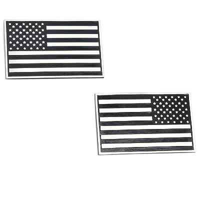 USA American 3D Metal Flag x2 emblem for Cars Trucks (Black & Chrome): Automotive
