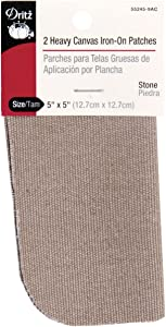 Dritz 55245-9AC Patches, Iron-On, Heavy Canvas, Stone, 5 x 5-Inch (2-Count)