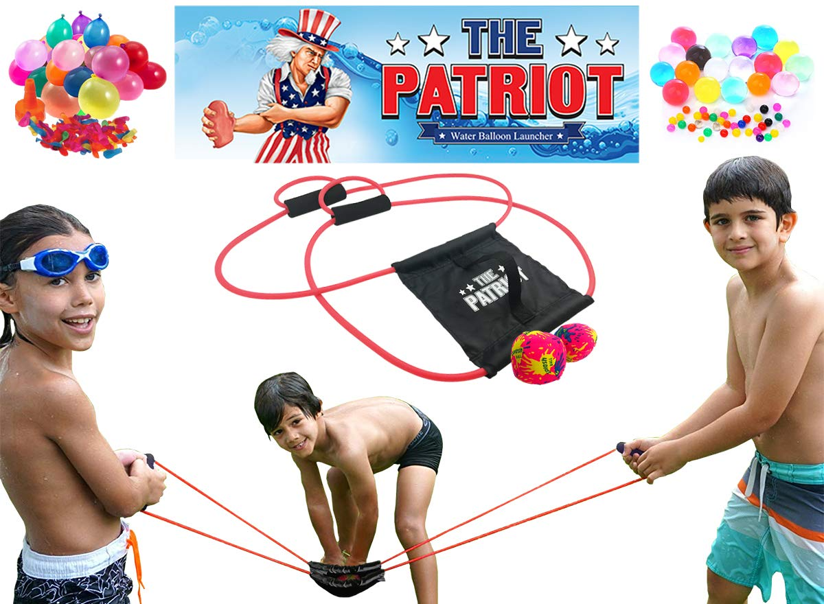 The Patriot Water Balloon Launcher / 200 Yards Slingshot / Includes 2 Splash Balls, Quick Fill Nozzle, 50 Bio Balloons by The Patriot