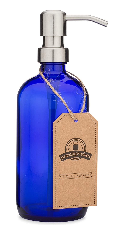 Jarmazing Products Cobalt Blue Glass Pint Jar Soap and Lotion Dispenser with Metal Pump (Black/Dark Bronze)