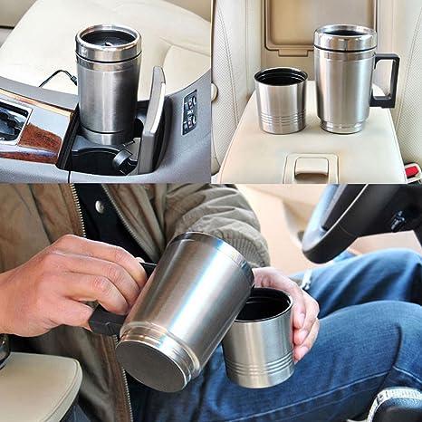 Taza de calefacción, hmane 12 V coche de acero inoxidable taza de vacío eléctrica calentador de agua: Amazon.es: Hogar