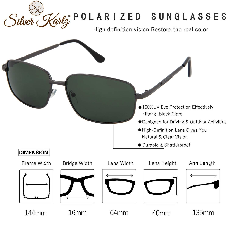 Silver Kartz Polarised Single Bar Classic Elite Aviator Unisex Sunglasses (wy228, Black, 55)