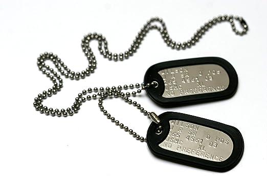 8 opinioni per Armydogtags- 2 Piastrine militari di riconoscimento, con catena e silenziatori