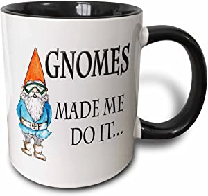 3dRose Gnomes Made Me Do It Mug, 11 oz, Black