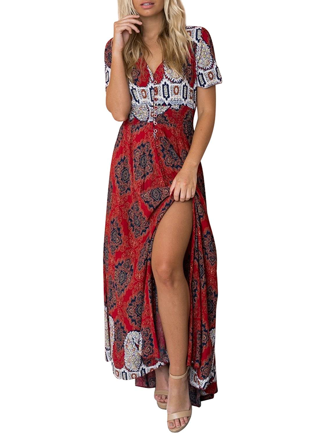 0b8da662b625 Simplee Women's Casual V Neck Floral Print Boho Maxi Dress with Short  Sleeves at Amazon Women's Clothing store: