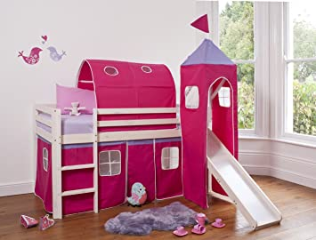 Cabin Bed Mid Sleeper Whitewashed Pink Princess with Tower Tunnel u0026 Tent 6970WW-PINK & Cabin Bed Mid Sleeper Whitewashed Pink Princess with Tower Tunnel ...