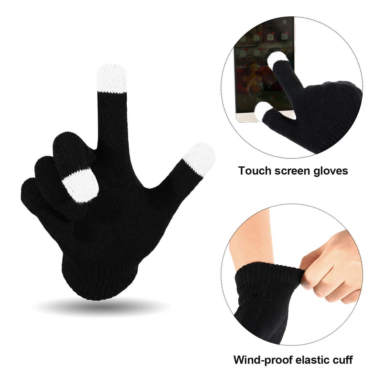 WILLBOND 3 Pezzi Set Caldo Invernale Orecchio Protettivo Fascia per Capelli Scaldacollo Invernale Guanti Touchscreen per Uomo e Donna