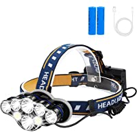 Rechargeable Headlamp, Foxdott 8 LED Headlamp Flashlight with White Red Lights,8 Modes USB Rechargeable Waterproof Head…