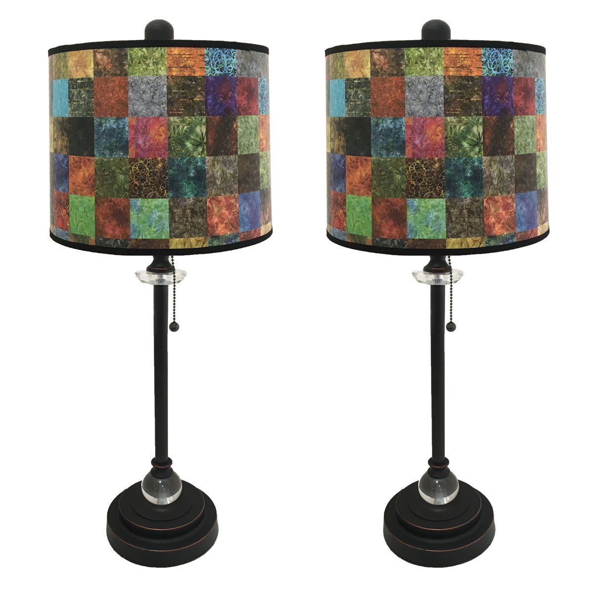 Royal Designs 28'' Crystal and Oil Rub Bronze Buffet Lamp with Colorful Patchwork Design Hard Back Lamp Shade, Set of 2