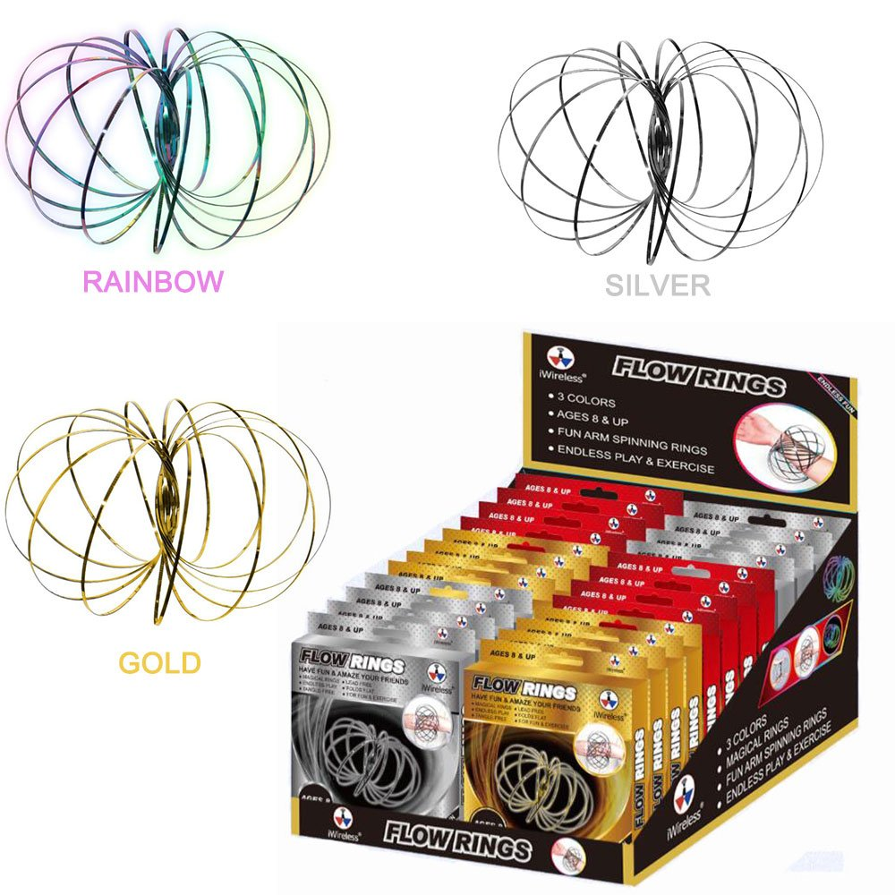 Flow Ring Kinetic Spring Toy 3D Sculpture Ring Arm Slinkey Bracelet Toy - Flow Ring Kinetic Spring Toy Gold Rainbow Silver iWireless USA (3 colors 24PACK)