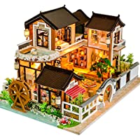 CUTEBEE Dollhouse Miniature with Furniture, DIY Wooden Dollhouse Kit Plus Dust Proof and Music Movement, 1:24 Scale Creative Room Idea(13848)
