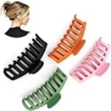 4 pcs Matte Plastic Hair Claw Clips, Nonslip Large Girls Hair Claw Clips Jaw for Women and Girls Thin Hair, Strong Hold for T