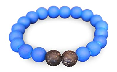 c09cb7f25a4c6c Mana Vibes Kids Beaded Bracelet for Kids, Rubber Coated and Lava Rock Beads  (Blue