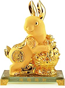BOYULL Chinese Zodiac Rabbit Golden Resin Collectible Figurines Table Decor Statue