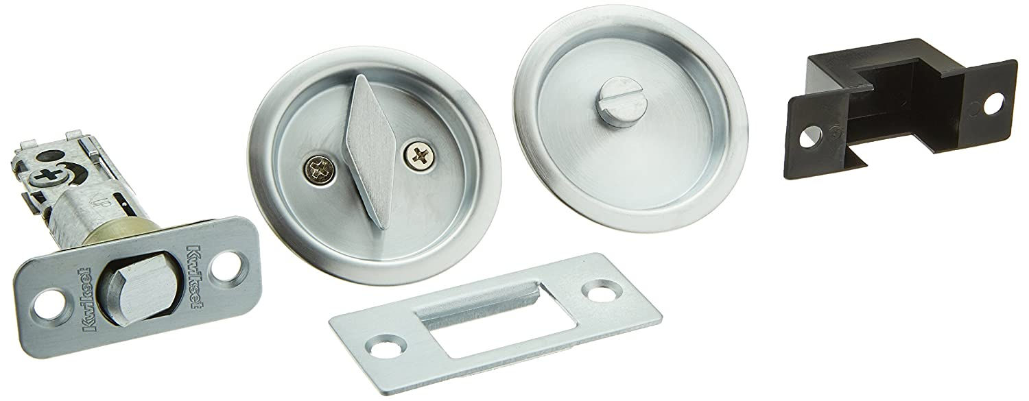Kwikset 335 Round Bed/Bath Pocket Door Lock In Satin Chrome   Door Dead  Bolts   Amazon.com