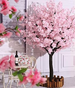 Vicwin-One Artificial Cherry Blossom Trees Handmade Light Pink Tree with Base Indoor Outdoor Home Office Party Wedding (6FT Tall/1.8M)