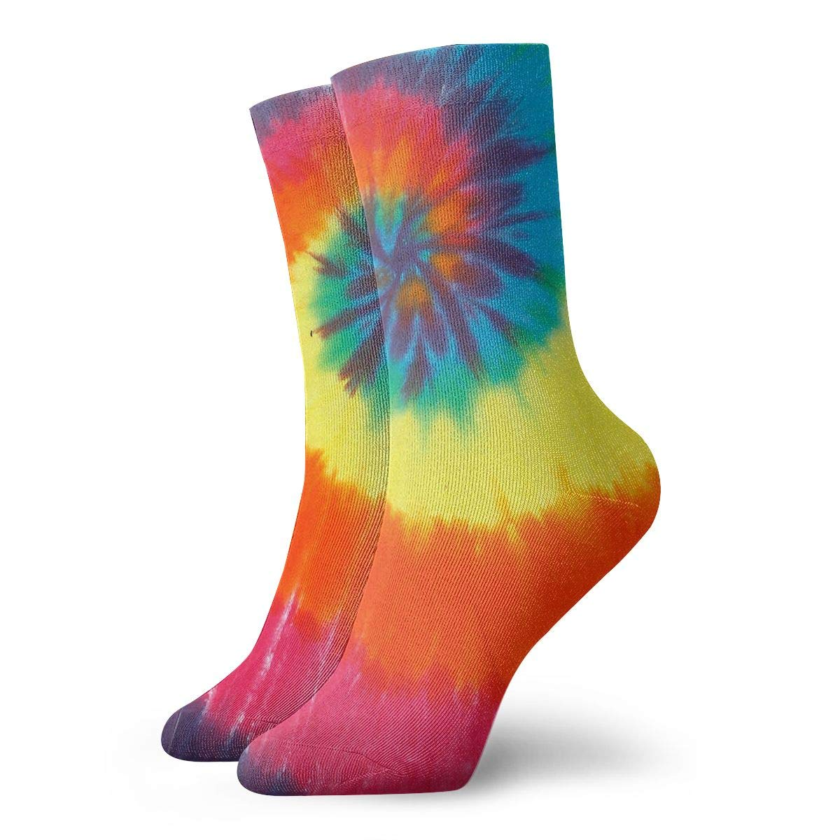 WEEDKEYCAT Rainbow Spiral Tie-dye Adult Short Socks Cotton Funny Socks for Mens Womens Yoga Hiking Cycling Running Soccer Sports