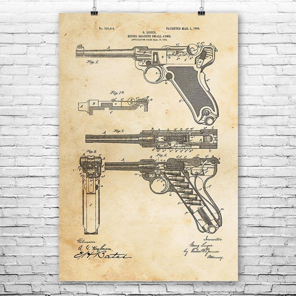 Amazon Com Ww2 Luger Pistol Poster Art Print Gun Enthusiast