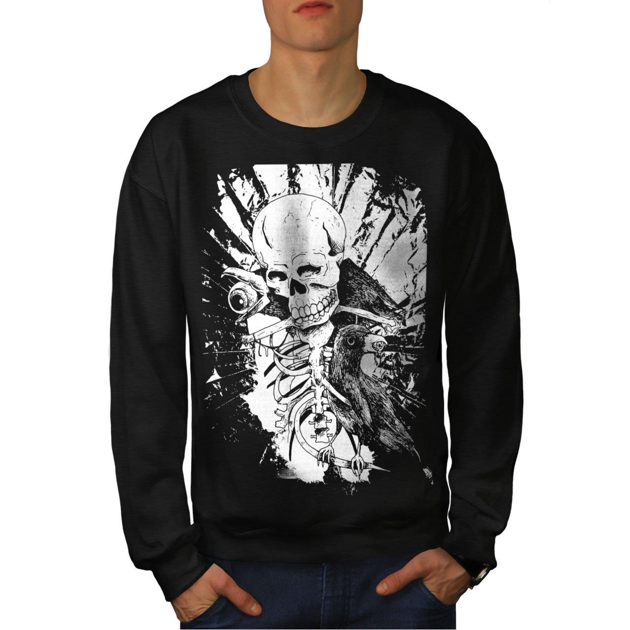 wellcoda Rock Skull Raven Mens Sweatshirt Horror Casual Jumper
